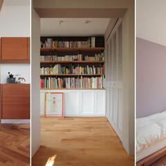 個人邸リノベーション ブルー壁の寝室/造作本棚の書斎/パープル…