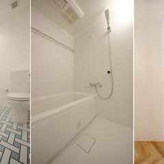 リノベーション賃貸 サニタリー床のタイルはオリジナルデザイン…