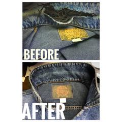 襟穴/襟/修理/ジージャン/ジーンズ/ジーパン/... ジージャンの襟修理です。 裏表裏返して修…