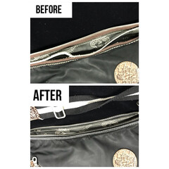 取り替え/リフォーム/リペア/修理/ジッパー/ファスナー/... バッグのファスナー取替え修理です。 天チ…