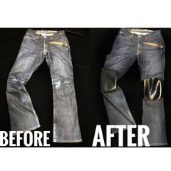 修理/膝/カスタム/レザー/革/ジーンズ/... ジーンズの膝に革あてをしてリメイクしまし…