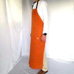 メンズエプロン/帆布 帆布胸当てエプロンロング