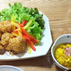郷土料理/ホタテフライ/ノンフライレシピ/菊/夕ご飯/毎日のごはん/... ホタテフライと菊花のお浸し。 青森の名産…