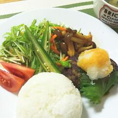 丁寧な暮らし/体に優しいご飯/ワンプレート/野菜/野菜たっぷり/ハンバーグ/... ワンプレートの夕ごはん。 おろしポン酢の…
