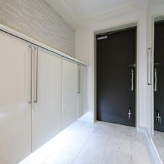 玄関/白タイル/光 照明の光が床の白タイルにうまく反射されま…