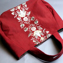 ハンドメイド/着物リメイク/手作りバッグ/創作バッグ/霧夢桜/キモノ着るなら/... 【霧夢桜】刺繍がカワイイ~ 名古屋帯で作…
