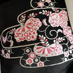 ハンドメイド/着物リメイク/手作りバッグ/創作バッグ/霧夢桜/キモノ着るなら/... 【霧夢桜】帯で作ったトートバッグ(A4サ…(1枚目)
