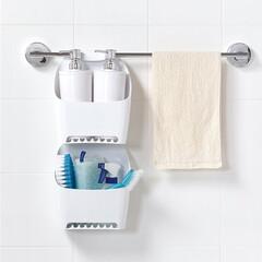 タオルバー/浴室/お風呂/浴室収納/バス/MARNA/... タオルバーにかけて収納が増やせる「タオル…