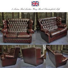 英国アンティーク/英国アンティーク家具/イギリスアンティーク/イギリスアンティーク家具/高級アンティーク家具/高級英国アンティーク家具/... 英国の伝統的な革製家具、チェスターフィー…