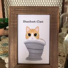 猫雑貨/アートフレーム/オリジナルイラスト 「バケツ猫」 へこんだアンティークバケツ…