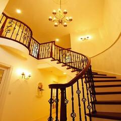 サーキュラー階段/木製階段/輸入建材/輸入住宅/アーチ/アーチ階段/... サーキュラー階段です。アーチ状の階段で、…