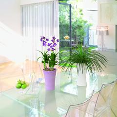 インテリア/スタイリッシュ/おしゃれ/モダン/クラシカル 縁起物の紅白の梅盆栽です。初春のお部屋を…