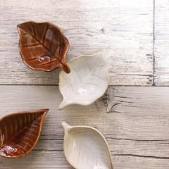 小皿/薬味皿/秋/可愛い/葉っぱ/食器/... セリアさんの新商品。 可愛い薬味皿です。…