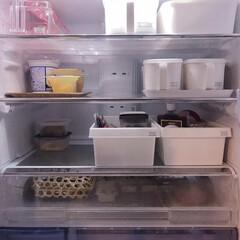 スッキリ収納/すっきり暮らす/整理整頓/冷蔵庫の中/冷蔵庫/冷蔵庫収納/... わが家の冷蔵庫。 基本100均のBOX等…