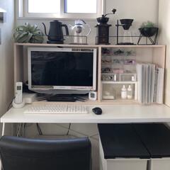 コーヒーコーナー/DIY/キッチン雑貨/100均/セリア/インテリア/... パソコン周りが殺風景だったので、棚を作り…