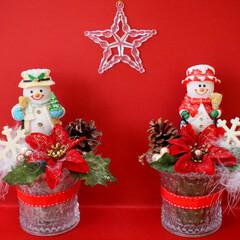 クリスマス/スノーマン/クリスマスアレンジ/アレンジ/ハンドメイド/リメイク ずっと前に購入したスノーマンのピック。か…