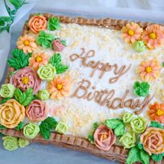 ケーキ/誕生日ケーキ/スイーツ/ケーキデコ/デコレーションケーキ/フラワーケーキ/... 13歳になった娘の、誕生日ケーキのリクエ…