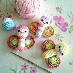 ハンドメイド雑貨/ハンドメイド/手作り雑貨/レース編みあみぐるみ/レース編み/あみぐるみ蝶々/... 母のあみぐるみです(*´ω`*)蝶々~✨…