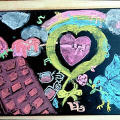 イラストインテリア/チョコレート/バレンタイン/バレンタインデー/チョークアート/チョーク/... 娘がはじめてのチョークアートに挑戦🎵テー…