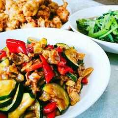 料理 カレールーを2欠片使った夏野菜の炒めもの…