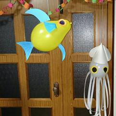 風船デコ 風船で魚といか😄