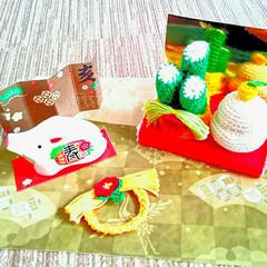 お正月雑貨/お正月/鏡餅/かどまつ/しめ縄リース/あみぐるみ/... 母のあみぐるみ飾り付けました。かどまつ、…