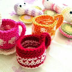 手作り雑貨/ハンドメイド雑貨/ハンドメイド/編み物/レース編みあみぐるみ/レース編み/... 母のあみぐるみ、コーヒーカップ☕✨(1枚目)