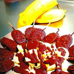 バナナ/バナナチョコ/スイーツ/グルメ 昨日の夜ご飯のあとのデザートはチョコバナ…