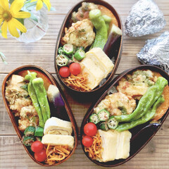 作り置き/常備菜/わっぱ/お弁当 鶏天と秋野菜の揚げ浸しで乗っけ弁当♩