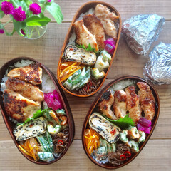 常備菜/作り置き/わっぱ/お弁当 鶏むね肉の香味ダレ焼き弁当♩