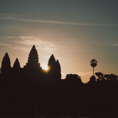 グラデーション/絶景/アンコールワット/カンボジア/海外旅行/旅行/... アンコールワットの朝日🇰🇭  4:30に…
