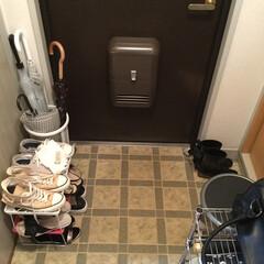 靴 収納/玄関/100均/ニトリ/ダイソー/セリア 玄関の片付け。 備え付けの靴箱に入らず出…(3枚目)