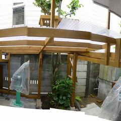 カーポート延長/バリーキング/ハンドメイドナイフ/フライス 中央の高い所から右側が、延長した屋根です…