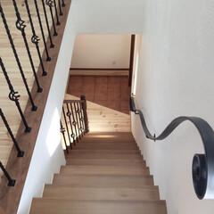フレンチハウス/アイアン手摺/手塗り壁/階段手すり/トップライト/マイホーム/... アイアン手摺と真っ白な手塗り壁の階段。 …