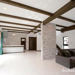 リビング/大空間/お洒落なお家/空間デザイン/自然素材の家/京都/... 30.5畳の大空間リビング✨ 大理石…
