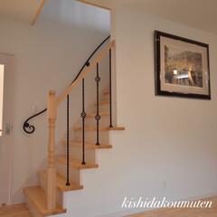 ナチュラルインテリア/完成見学会/かわいいお家/アイアン階段/アートギャラリー/工務店/... お気に入りの階段と大好きな絵🌉 可愛いア…