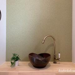 岸田工務店/マイホームが欲しい/マイホーム/間取り図/お洒落な家/デザイン/... トイレを彩る火色ビードロの手洗い鉢。 無…(1枚目)