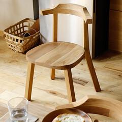 家具/インテリア/イス/食卓/ダイニングチェア 淡い茶褐色と優しい風合いの木目が特徴のく…
