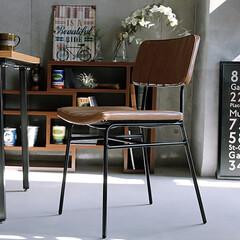 椅子 /チェアー/ダイニングチェアー/家具/インテリア/レザー/... エイジング加工が施されたPVCレザーと色…