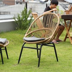 インテリア/家具/ベランピング/ガーデン/アウトドア ラタン調の素材とブラックスチールの組み合…