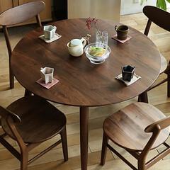 インテリア/家具/食卓/暮らし/ダイニング/テーブル/... 美しい木目が特徴のウォールナット無垢材を…