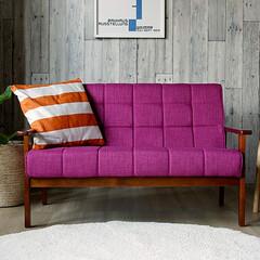 インテリア/家具/ソファー/コーディネート/ピンク/ソファ 座面や背もたれのクッション部分は彩度を抑…