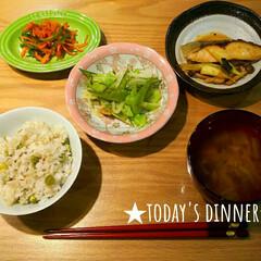 旬/おうちごはん/フード 【夕御飯】 豆ご飯 銀ヒラスの照焼き 人…