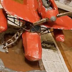 今日はここまで/塗装作業/DIY日記/ジブリ大好きおじさん/ただの飛行機/手作り/... ダンボールDIY【途中経過】 塗装作業中…(2枚目)