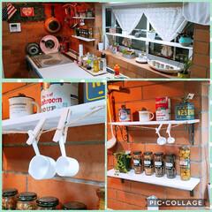 大さじ.小さじ/キッチン棚/グリーン/おうちごはん/DIY/雑貨/... Kitchenに飾り棚を作ってみたした。…