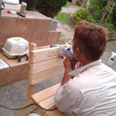 昔の作品/手作りベンチ/DIY 懐かしい写真見つけたので 昔作ったベンチ…