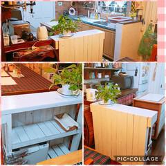 キッチン/カントリー/白/手作りカウンター/塗装/DIY/... 手作りカウンター🔨を白に塗ってみた‼😉😉…