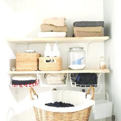 節約/マンション/リノベーション/端材消費/DIY/100均/... 端材消費に٭¨̮ 洗濯機上部に収納棚を…