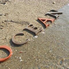 アルファベットオブジェ/テラコッタ/アルファベットタイル 日焼け!? 酸化焼成でレンガ色と還元焼成…