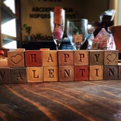 バレンタイン/キューブ煉瓦/ディスプレイオブジェ もうすぐ!Happy Valentine…
